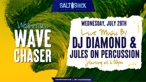 Wednesday July 28th with DJ Diamond & Jules on Percussion